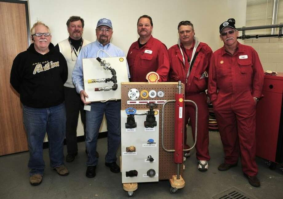 Pictured, (left to right), are Stephen Rowland, San Jacinto College non-destructive testing program director; Leslie Crnkovic, San Jacinto College non-destructive testing professor; Michael Speegle, San Jacinto College department chair of process, instrumentation, electrical, non-destructive testing, and welding technology; and Steve Martinez, Dale Auterson, and Bryan Olson from the Shell Deer Park's maintenance department. Photo credit: Jeannie Peng-Armao, San Jacinto College marketing, public relations, and government affairs department.