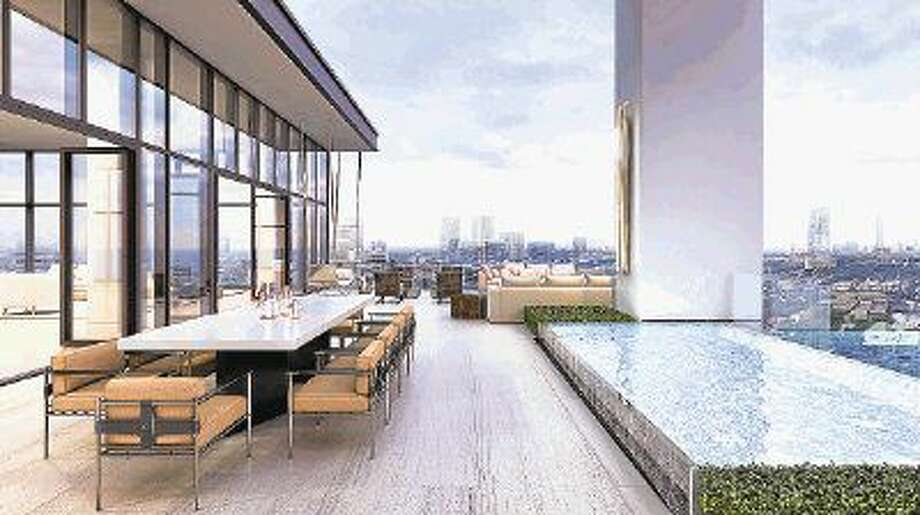 Shown here is the rendering of a view from a topside terrace deck at the new River Oaks condominiums.