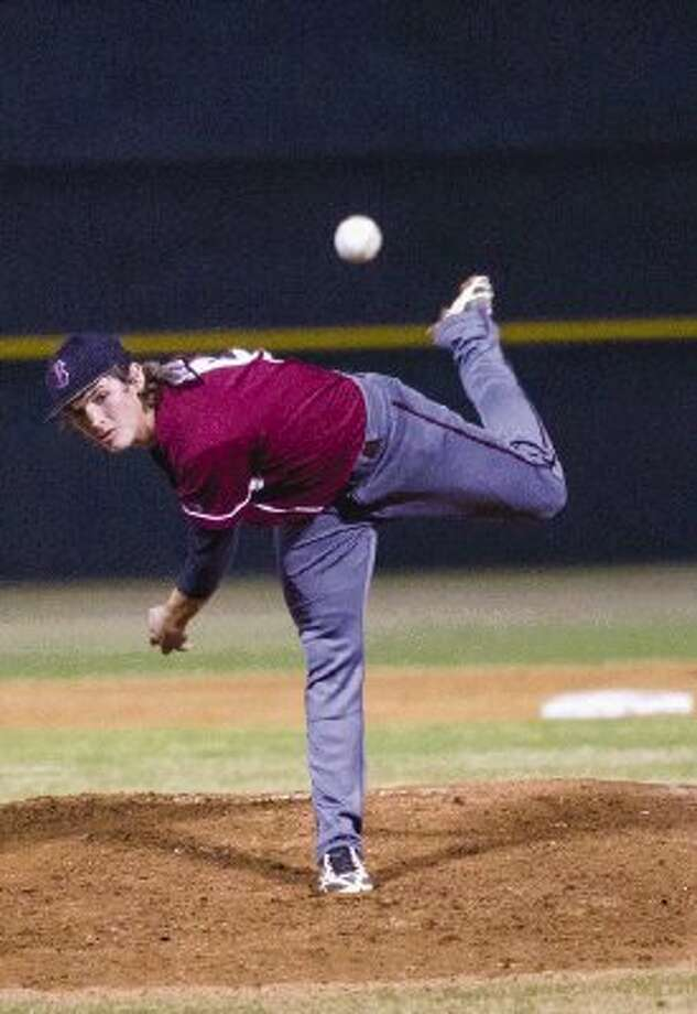 Magnolia's Mason Schuh pitches during a District 18-4A game against Magnolia West on Friday. The Mustangs won 9-3. To view or purchase this photo and others like it, visit HCNpics.com. / The Conroe Courier