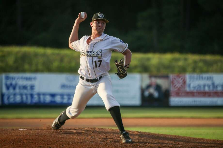 Woodlands Strykers pitcher Beau Ridgeway throws a pitch during the baseball game against the Texas Marshals on Friday at Strykers Stadium.
