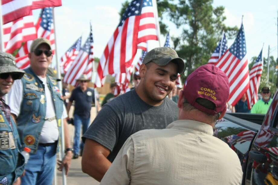 Humble area resident Army PFC Joshua Armijo was surprised with a welcome home ceremony that started at Humble Middle School and escorted Armijo to his house Saturday, Aug. 6, 2016.