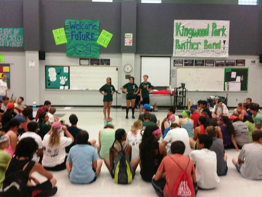"""Kingwood Park High School band students talk about experiences the morning of the freshmen """"kidnapping"""" band camp breakfast at Kingwood Park High School Friday, Aug. 5, 2016."""