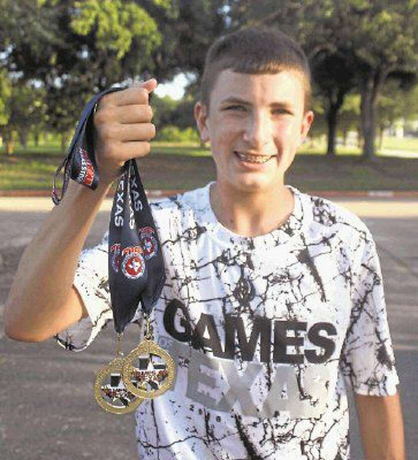 Fairmont Junior High graduate Ryan Schoppe is the proud owner of not one but two state records in the 1600 and 3200-meter runs he claimed at last weekend's Texas Amateur Athletic Federation (TAAF) Games of Texas state track meet in McAllen. The 1600 record of 4:40.34 had stood for 11 years until Ryan came along and posted a 4:36.77 on Saturday. Photo: Robert Avery