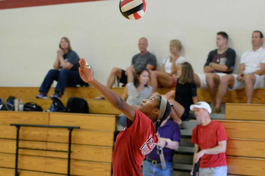 Tompkins and Katy played during a four-team volleyball scrimmage Aug. 6 at Katy High School. The Lady Falcons begin the regular season Aug. 9 at Travis. View this and additional photos on HCNPics.com. Photo: Craig Moseley