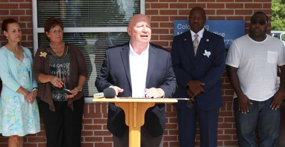 U.S. Rep. Kevin Brady (TX-08) explains how renaming the Coldspring post office in honor of Eddie Marie Youngblood will honor her life and the community. Photo: Jacob McAdams