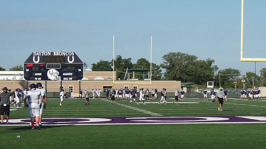 The temperature was already approaching 90 degrees before 9 a.m. on Tuesday, Aug. 9, but the Dayton Broncos were hard at practice. Photo: Casey Stinnett