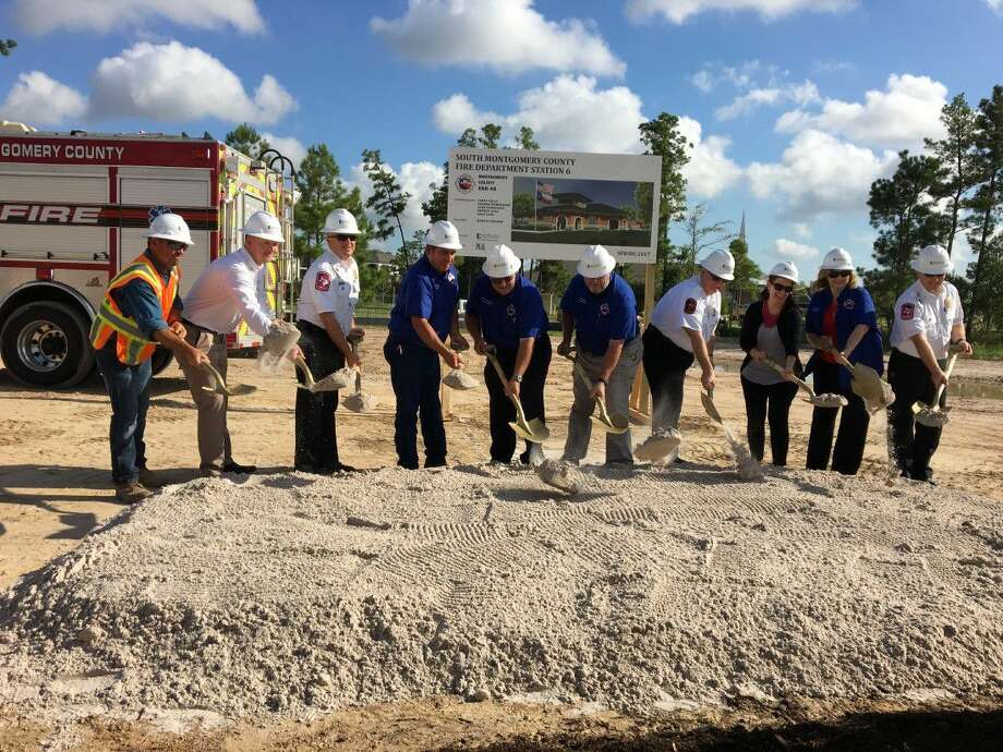 South Montgomery County Fire Chief Robert Hudson (fourth from right) joins colleagues at the groundbreaking of the department's new fire station in the Spring master-planned community of Harmony. Photo: Submitted Photo