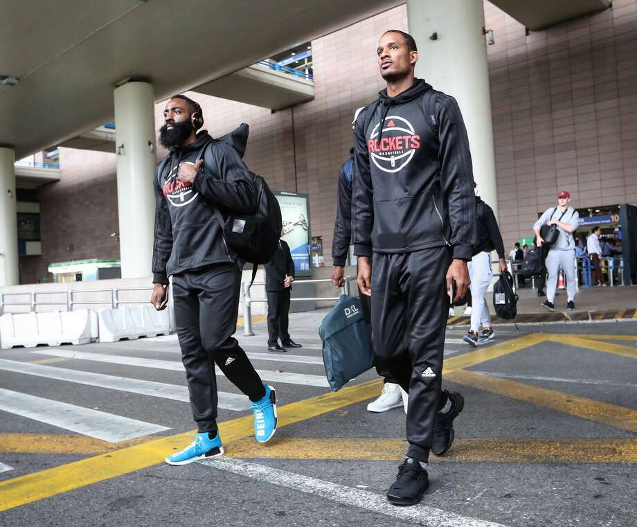 James Harden (left) was surprised and appreciative of a column Trevor Ariza (right) wrote in the Players Tribune about how valuable Harden is.