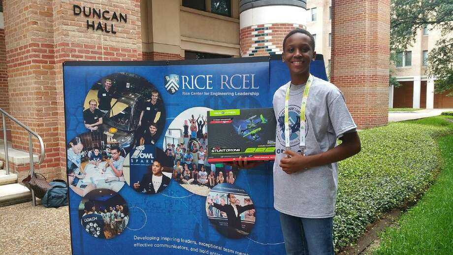 Ryan Linton, an incoming seventh-grade student at Aragon Middle School, prepares to fly a stunt drone at the 2016 Rice University Drone Camp in June. Photo: Submitted Photo