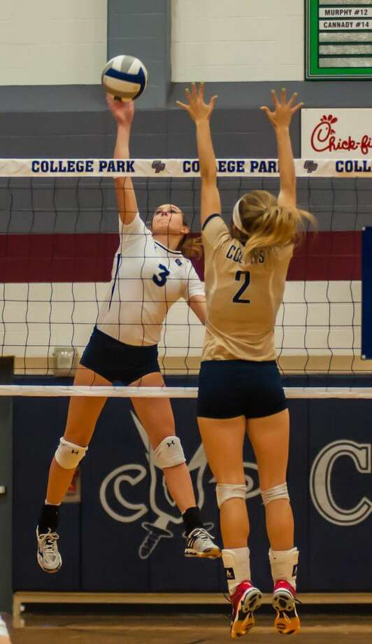 College Park's Lauren Freeman goes for a kill against Klein Collins on Tuesday at College Park High School.