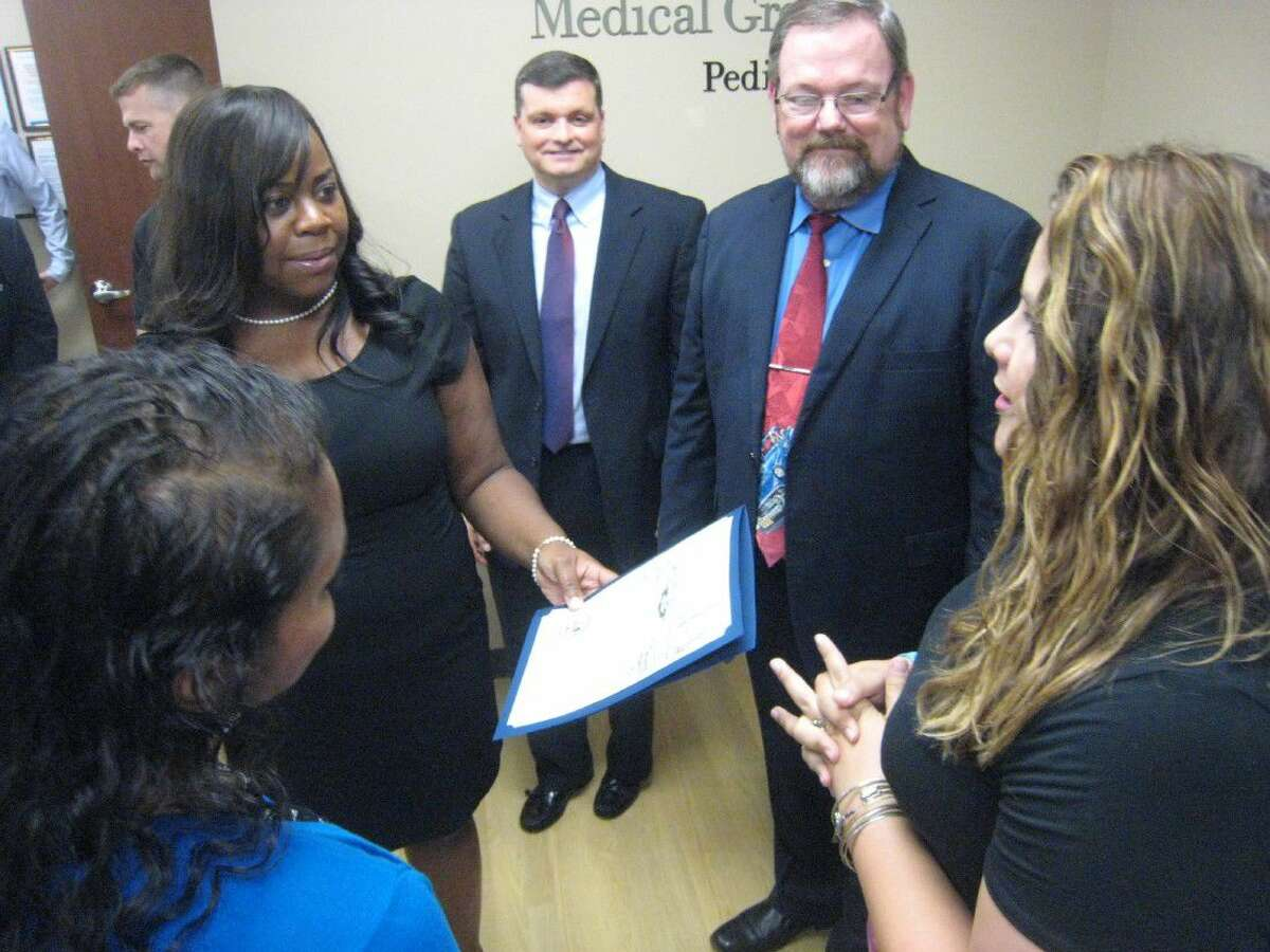 The city of Houston Council Member Dave Martin's office presented Memorial Hermann Medical Group Pediatrics primary care center with a proclamation honoring them for their grand opening.