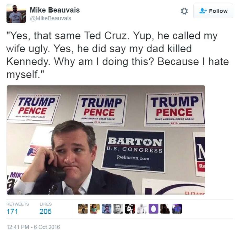 Texas Sen. Ted Cruz was ridiculed on social media on Oct. 6, 2016, after videos of him calling voters to cast their ballot for Trump were posted online.Image via Twitter Photo: Twitter