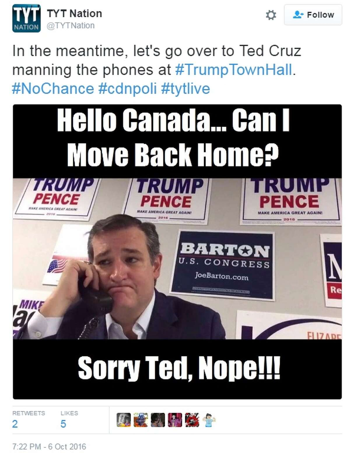 Texas Sen. Ted Cruz was ridiculed on social media on Oct. 6, 2016, after videos of him calling voters to cast their ballot for Trump was posted online. Image via Twitter