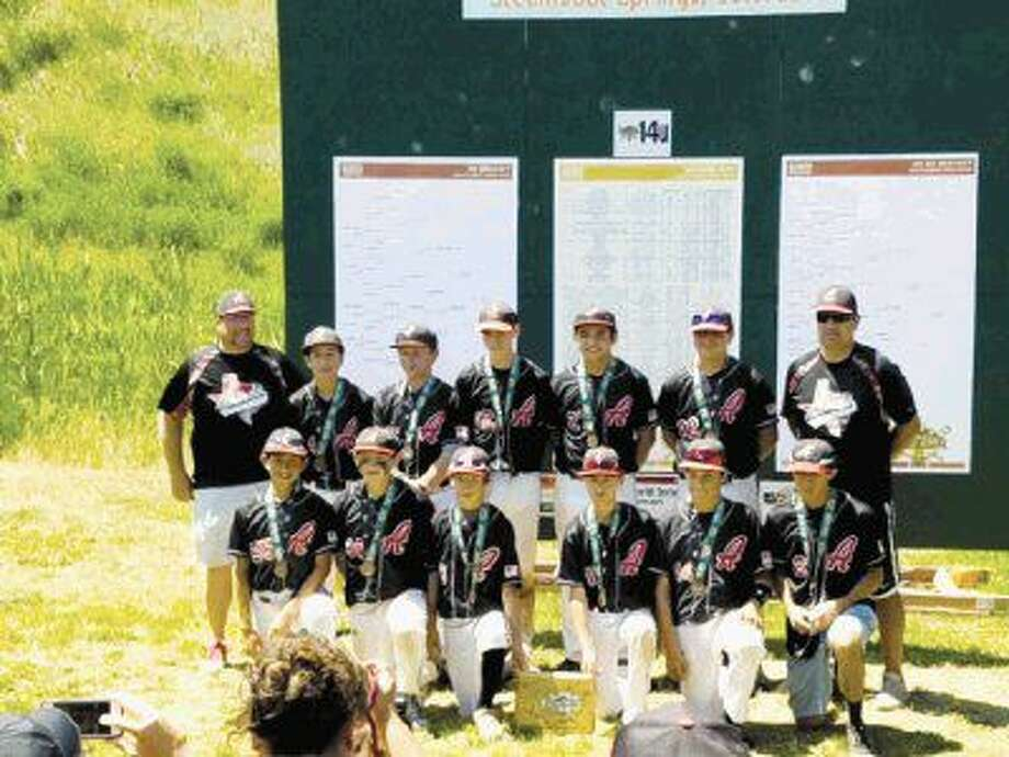 Admirals Baseball 14U competed in a World Series event in Colorado July 20-24 and placed third in their division. Pictured from left to right in the first row are Luke Farias, Konway Baird, Kohlten Parlari, Blake Beach, Ernesto Sandoval and Andres Garza. Pictured from left to right in the second row are Coach Jeremy, Caleb Carter, Kyle Leisinger, Davis Carr, Jacob Vasquez, Chris Sanchez and Coach John.