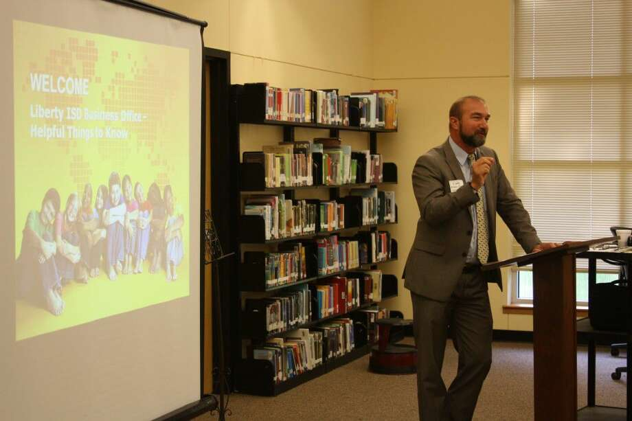 Liberty ISD Superintendent Dr. Cody Abshier addresses a group of new employees during the back-to-school convocation on Wednesday, Aug. 10, at Liberty Middle School. Photo: Vanesa Brashier