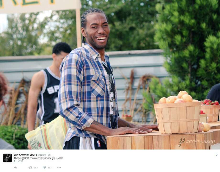 The Spurs stars gave a behind the scenes look at H-E-B's new commercials through social media Thursday, Oct. 6, 2016. Photo: Twitter, Instagram Screenshots