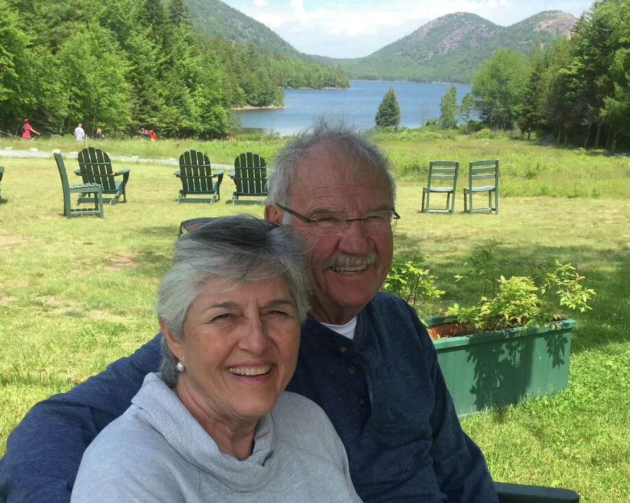 Linda and Phil Hardberger at Jordan Pond in Acadia, Maine. Photo: Courtesy Katrina Meredith