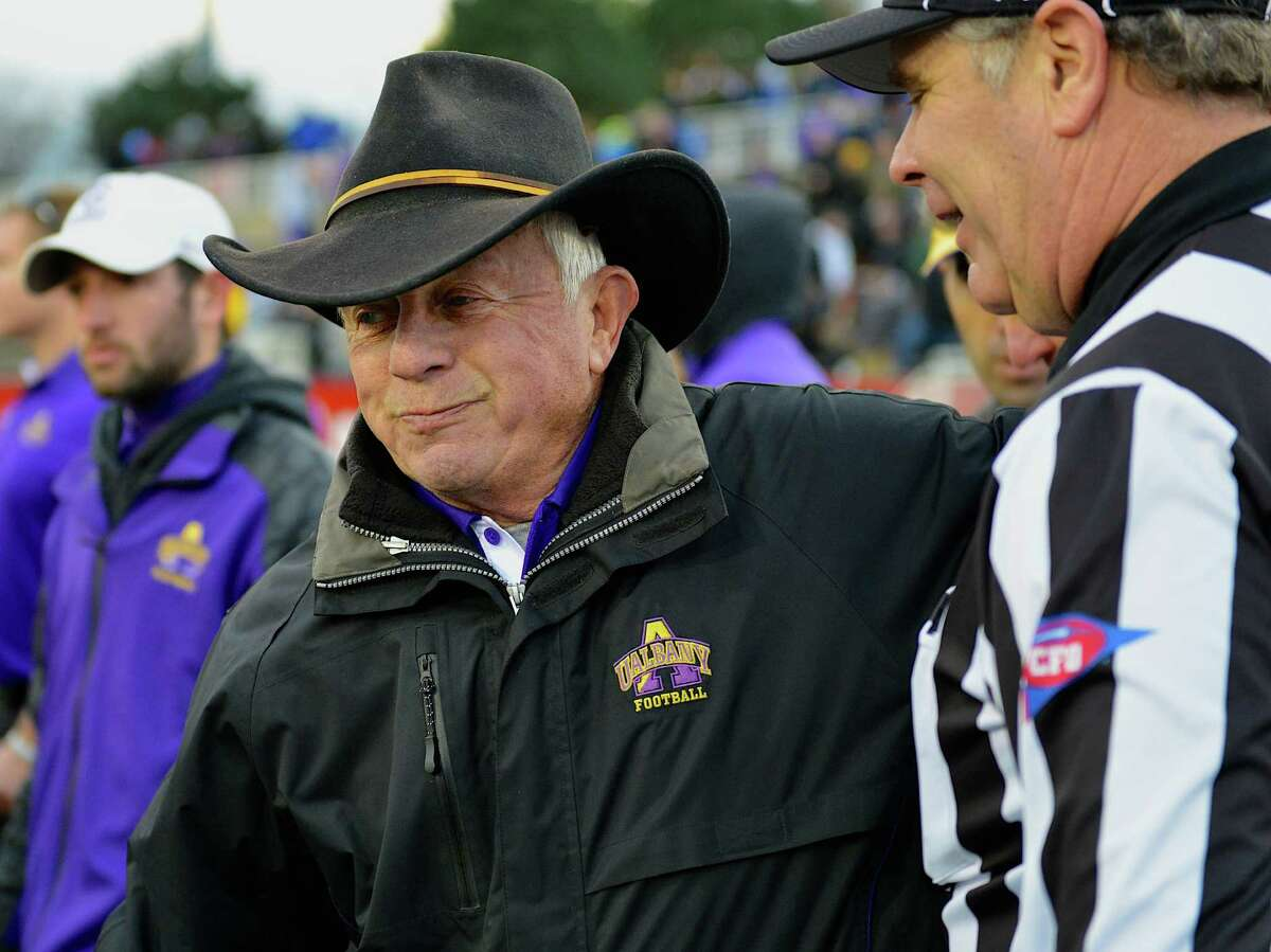 UAlbany coach Bob Ford chats with an official during his last game as coach, at Stony Brook on Saturday, Nov. 23, 2013. (UAlbany sports information)