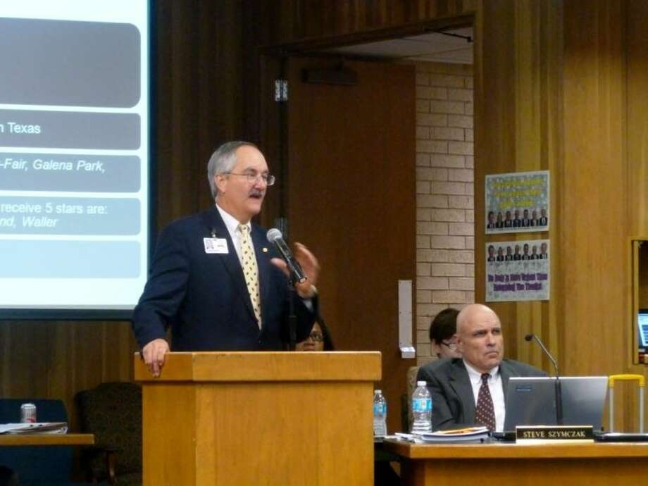Thomas Petrek, associate superintendent of financial services, gives the Klein ISD's financial report at a board meeting in January.