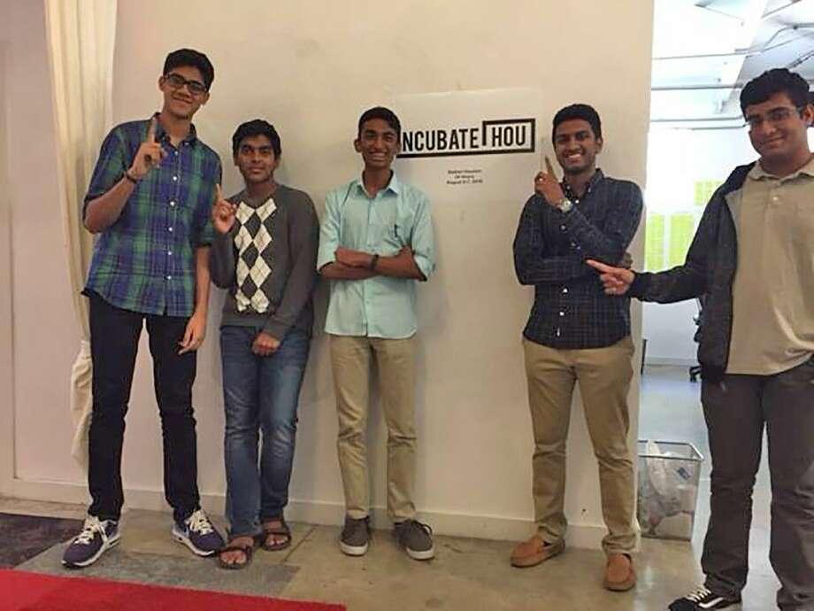 IncubateHOU's event organizers included Cy-Fair junior Koustubh Nyshadham, second from left; Cypress Ranch senior Siddarth Sankaran, fourth from left, and Cypress Falls senior Sriram Harihan, far right.