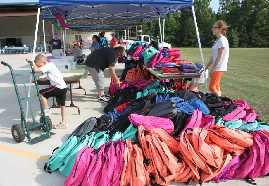 "Cornerstone Baptist Church begins their Back to School Backpack Bash ""Bonanza"" Giveaway with a total of 500 backpacks on Aug. 13. Photo: Submitted"