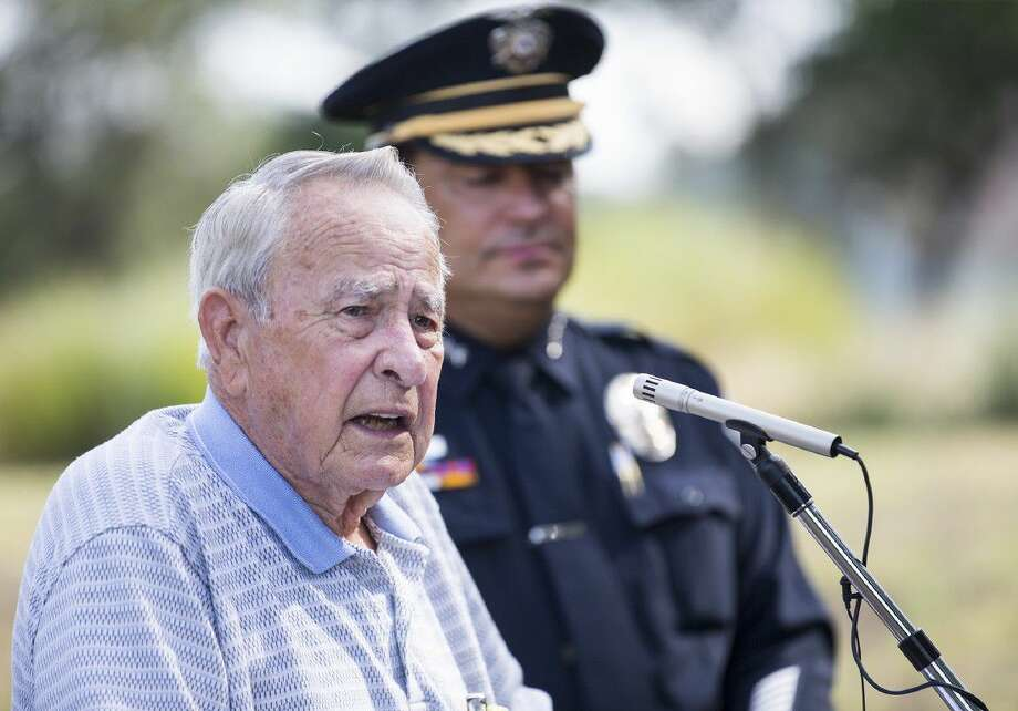 Retired Austin Police officer Bobby Sides speaks during a sign unveiling honoring fallen Austin Police officer Donald E. Carpenter in Austin. Carpenter was responding to a burglary and was shot and killed in South west Austin on Jan. 28 1964.