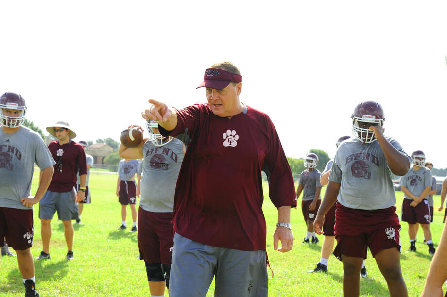 Cy-Fair head coach Ed Pustejovsky directs traffic during a practice Thursday, Aug. 11, 2016 at Cy-Fair High School. The Bobcats return seven starters on offense and defense, and looked poised to compete for a district title, which Pustejovsky says is the unequivocal goal this year. Photo: Tony Gaines