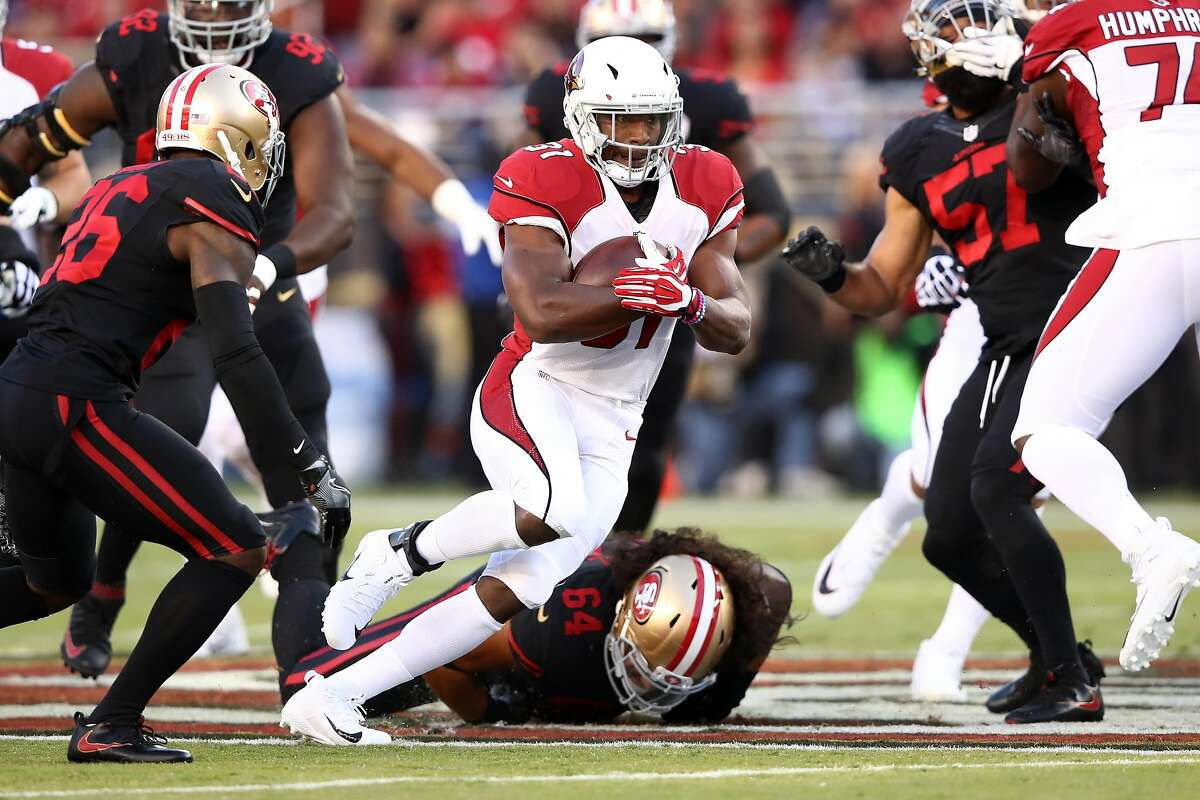 SANTA CLARA, CA - OCTOBER 06: David Johnson #31 of the Arizona Cardinals rushes against the San Francisco 49ers during their NFL game at Levi's Stadium on October 6, 2016 in Santa Clara, California. (Photo by Ezra Shaw/Getty Images)
