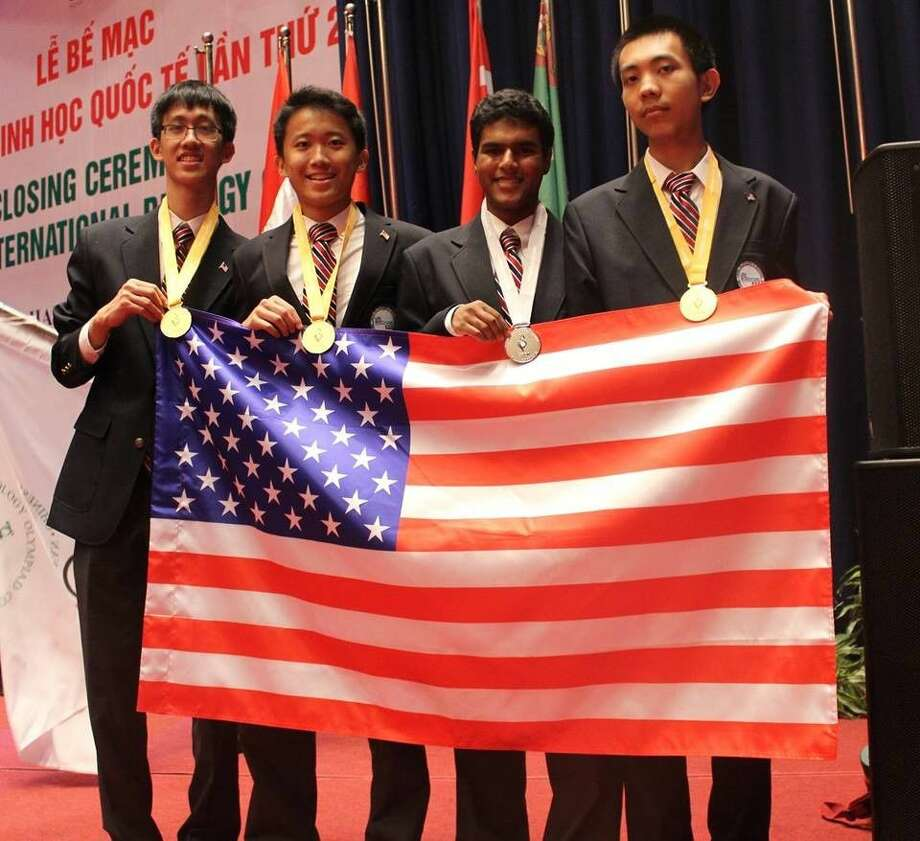 The 2016 Team USA at the 27th International Biology Olympiad, pictured from left includes Thomas Xiong, Seven Lakes High School, Katy, Texas (Gold); Boyang Peter Dun, Canterbury School, Fort Wayne, Indiana (Gold); Varkey Alumootil, Canyon Crest Academy, San Diego, California (Silver); and Bowen Jing, West Lafayette High School, West Lafayette, Indiana (Gold). Photo: Submitted Photo