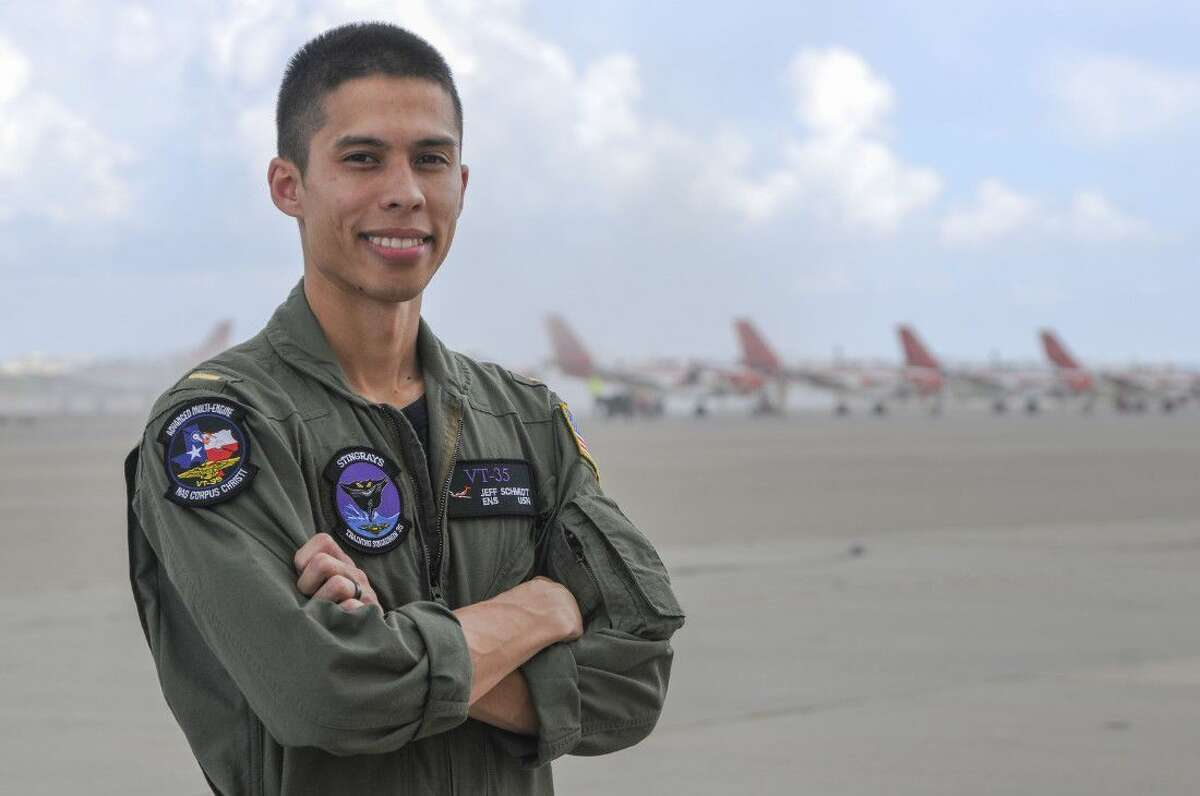 """Ensign Jeff Schmidt, a 2010 Tomball High graduate, is a student naval aviator with the """"Stinging Stingrays"""" Training Squadron (VT-35), based in Corpus Christi that operates the TC-12 Huron aircraft."""