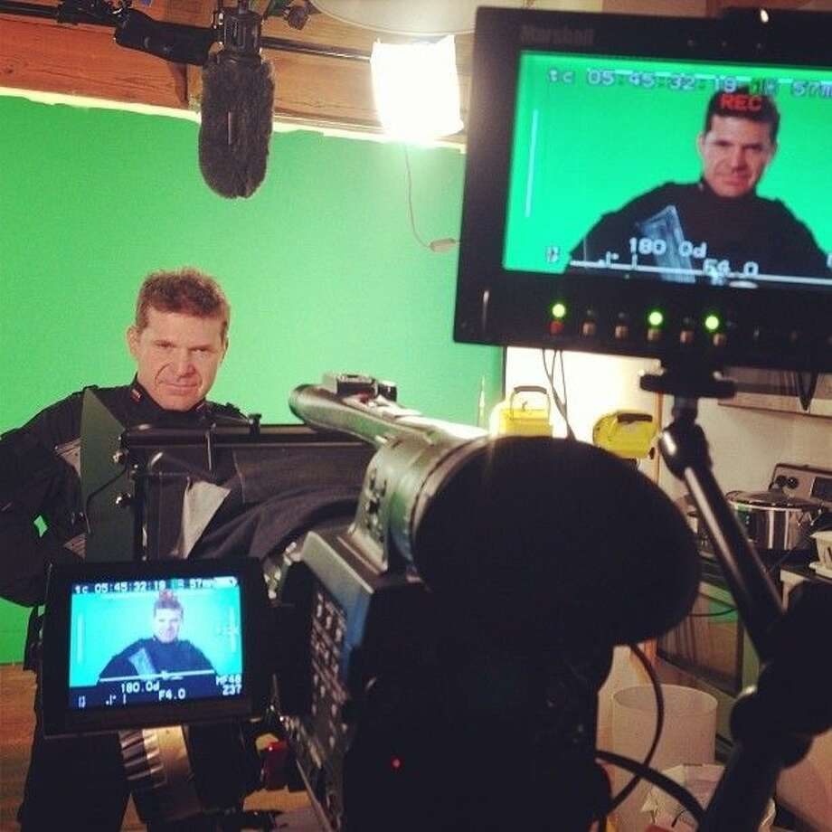 Brian Thornton acts in front of the green screen on the set of Rogue Strike. Photo: Submitted