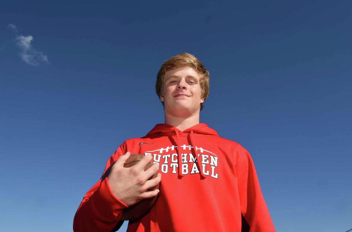Guilderland High School football senior wide receiver Steven Fedorchak on Wednesday Oct. 5, 2016 in Guilderland , N.Y. (Michael P. Farrell/Times Union)