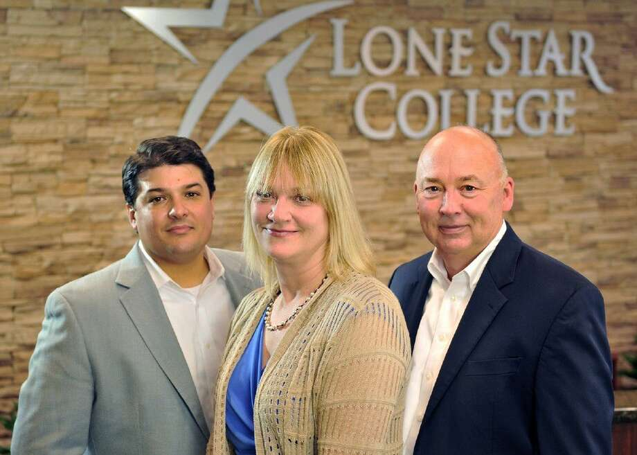 Employees from ExxonMobil Corp. donated more than $45,000 to the Lone Star College Foundation to support student scholarships. Pictured from left are Amos McDonald, LSC vice chancellor, government and public relations; Judy Hubka, ExxonMobil community relations advisor; and Dr. Stephen C. Head, LSC chancellor. Photo: Submitted