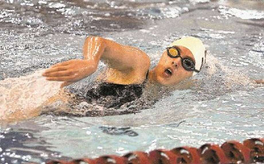 Magnolia freshman Joy Field, pictured competing in district competition, helped the Lady Bulldogs finish second in the team standings at the Region V-4A Swimming and Diving Championships on Saturday. Photo: Staff Photo By Jason Fochtman / @WireImgId=2660251