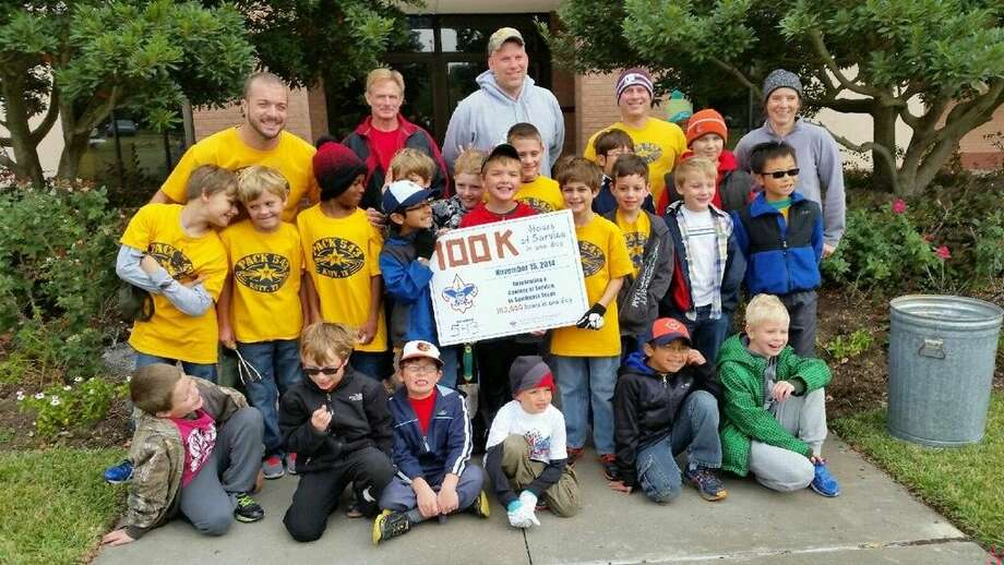 The cub scouts from Exley Elementary in Katy participated in the Sam Houston Area Council's centennial day of service, in which the council hoped to log at least 100,000 total service hours between scout units in 16 counties.