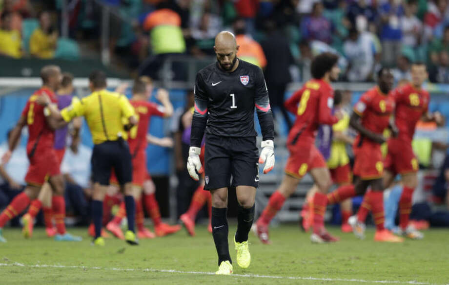 United States' goalkeeper Tim Howard reacts after Belgium's Kevin De Bruyne scored the opening goal during the World Cup round of 16 soccer match between Belgium and the USA at the Arena Fonte Nova in Salvador, Brazil, Tuesday.