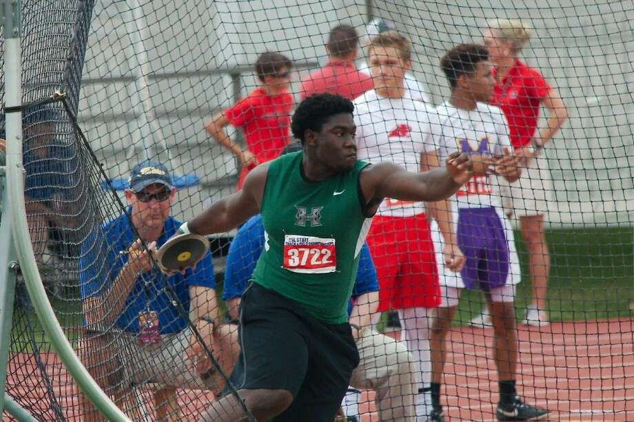 Missouri City resident Gabriel Oladipo, pictured at the UIL state meet competing for Hightower High School, won the national championship in the discus with a throw of 192 feet, 6 inches at the AAU Junior Olympics, July 30-Aug. 6 in Humble. Photo: Kirk Sides