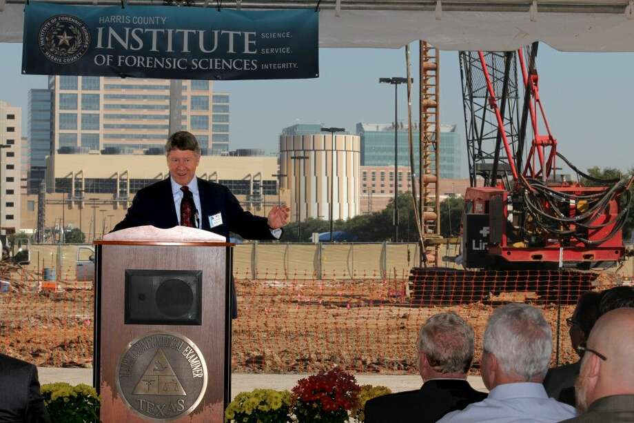 Harris County Judge Ed Emmett, master of ceremonies, ushers in the start of construction of the Harris County Institute of Forensic Sciences new forensic facility. Slated to open early 2017, the facility will be equipped with state-of-the-art technology as well as integrated clinical, laboratory, administrative, public and teaching/training areas. Photo: Desmond Bostick