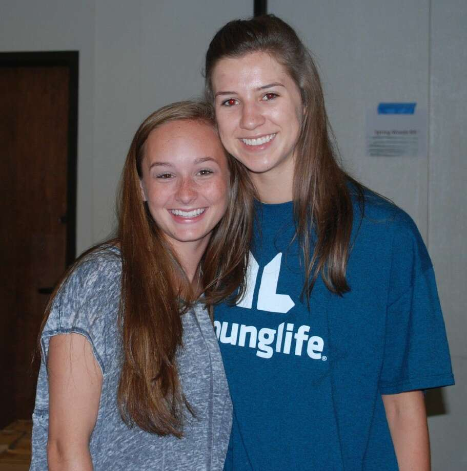 Madeline Baker and Mia Fjerstad are seniors at Stratford High School. The pair helped their classmates as they sorted supplies before being delivered to the schools. Photo: Submitted Photo