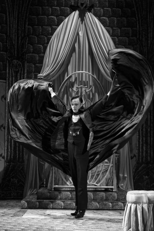 "Jay Sullivan as Dracula in the Alley Theatre's production of ""Dracula, the Original Vampire Play."""