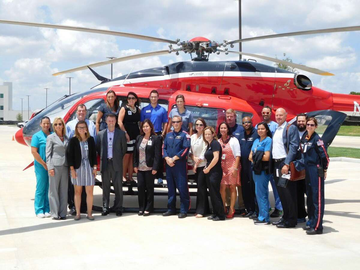 The crew Life Flight visited Memorial Hermann Cypress, meeting with staff from the hospital and other Cy-Fair community leaders.