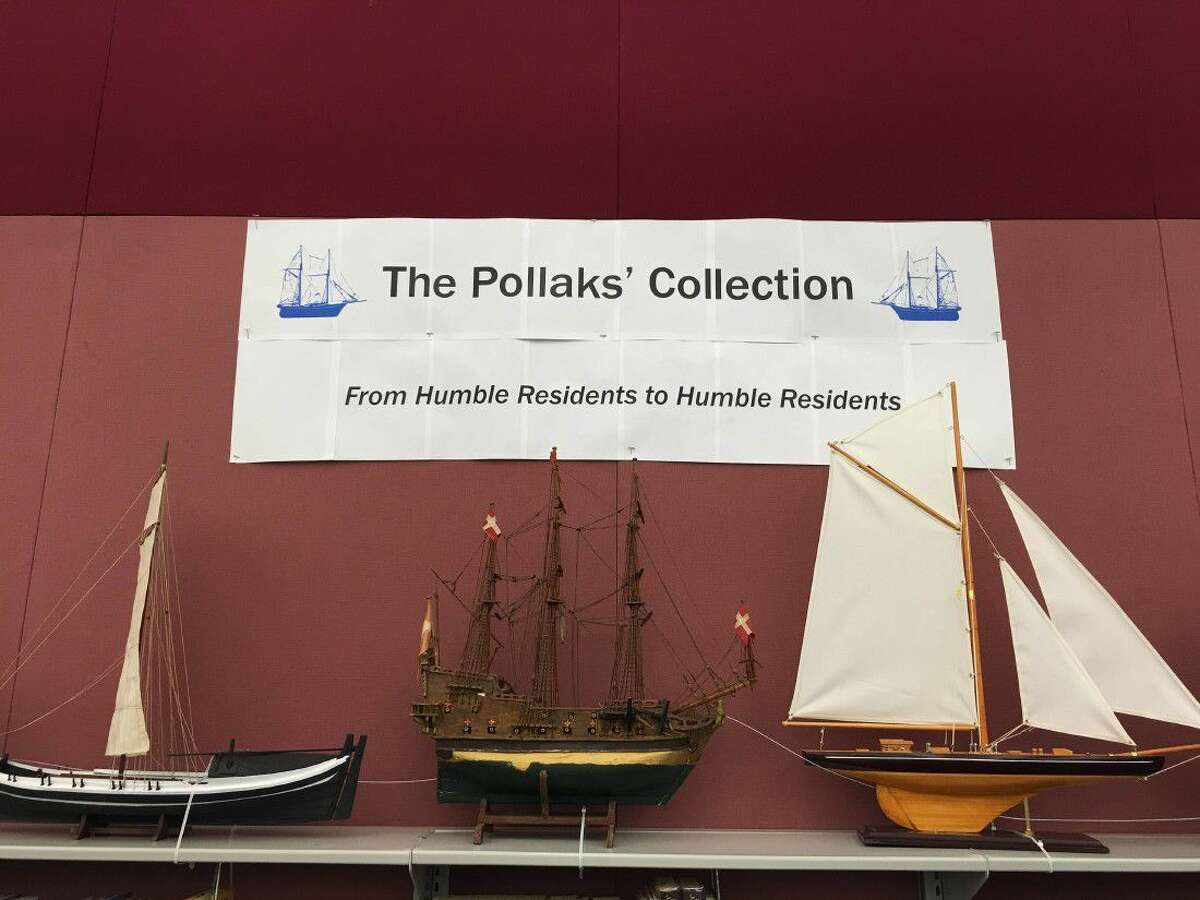 The Pollak's met with Octavia Fields Branch Library Manager Janna Hoglund to inquire about featuring their collection at the library as a way to share their adventures with their fellow Humble residents. Octavia Fields Library will display a variety of the collectibles starting with the Boats Collection items.