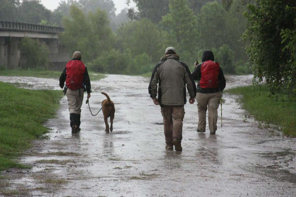 Liberty County Sheriff's Detective Brian Bortz accompanies members of a canine search team Wednesday as they look for a missing man near the Trinity River bridge in Moss Hill. The man, Charles Roger Edgell, 44, of Cut and Shoot has been missing since Monday night.