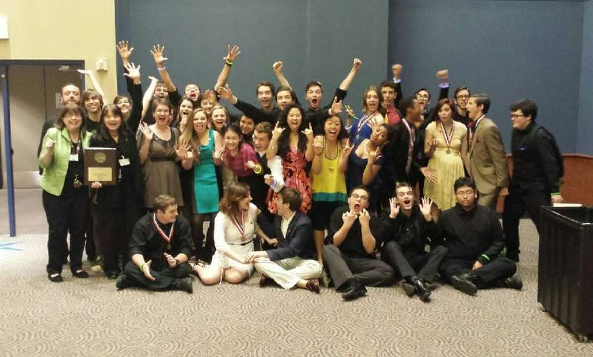Cypress Ranch High School students and staff celebrate after their one-act play, Radium Girls, was selected to advance from the District 17-5A Contest, held March 27-29 at the Berry Center, to the area contest set for April 9.