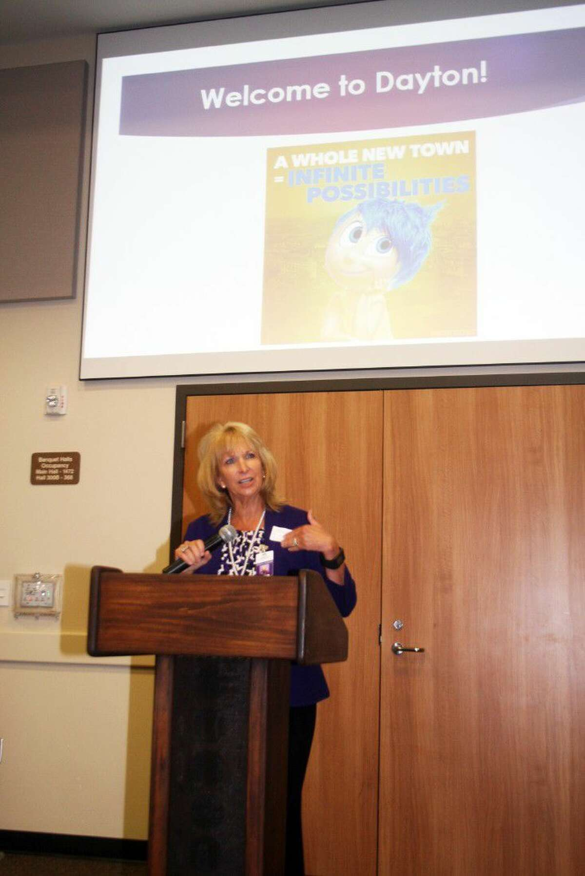 Superintendent Dr. Jessica Johnson used her alter ego, Disney character Joy, to tell the story of Dayton to a host of new teachers in Dayton ISD. The New Teachers' Luncheon was sponsored by the Dayton Chamber of Commerce.