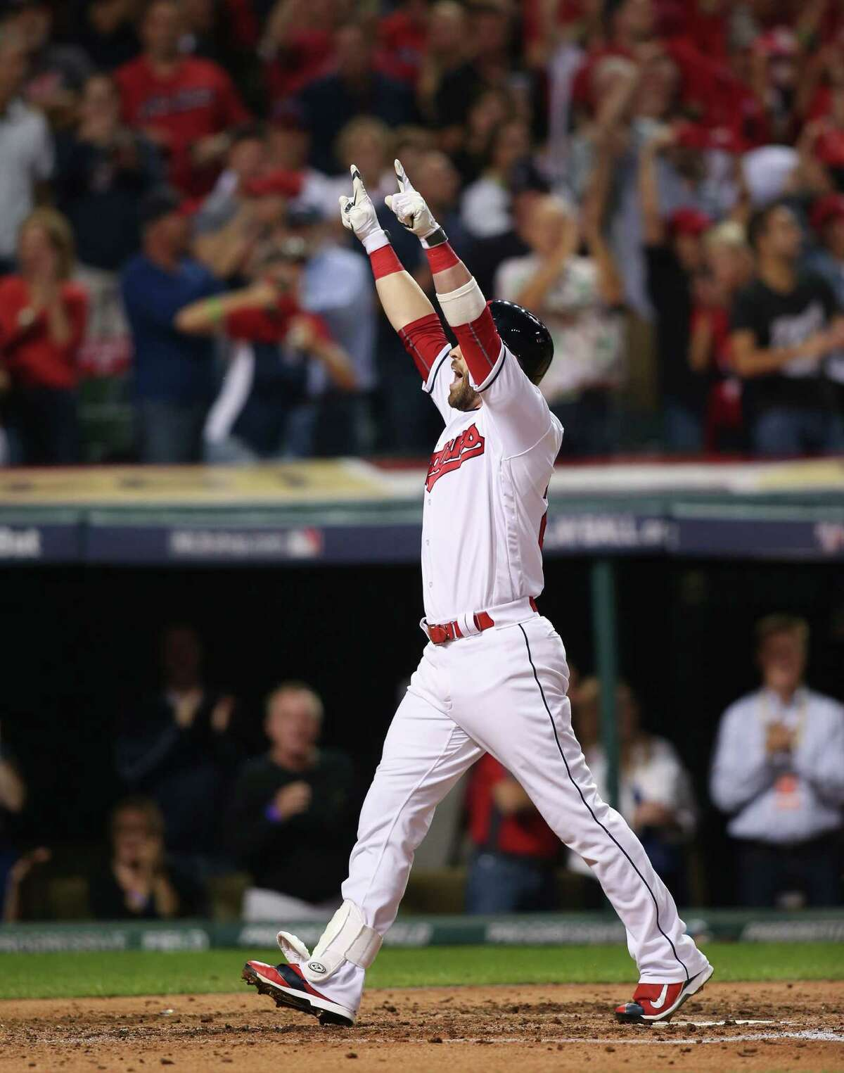 Cleveland Indians' Jason Kipnis celebrates his solo home run against the Boston Red Sox in the third inning during Game 1 of baseball's American League Division Series, Thursday, Oct. 6, 2016, in Cleveland.