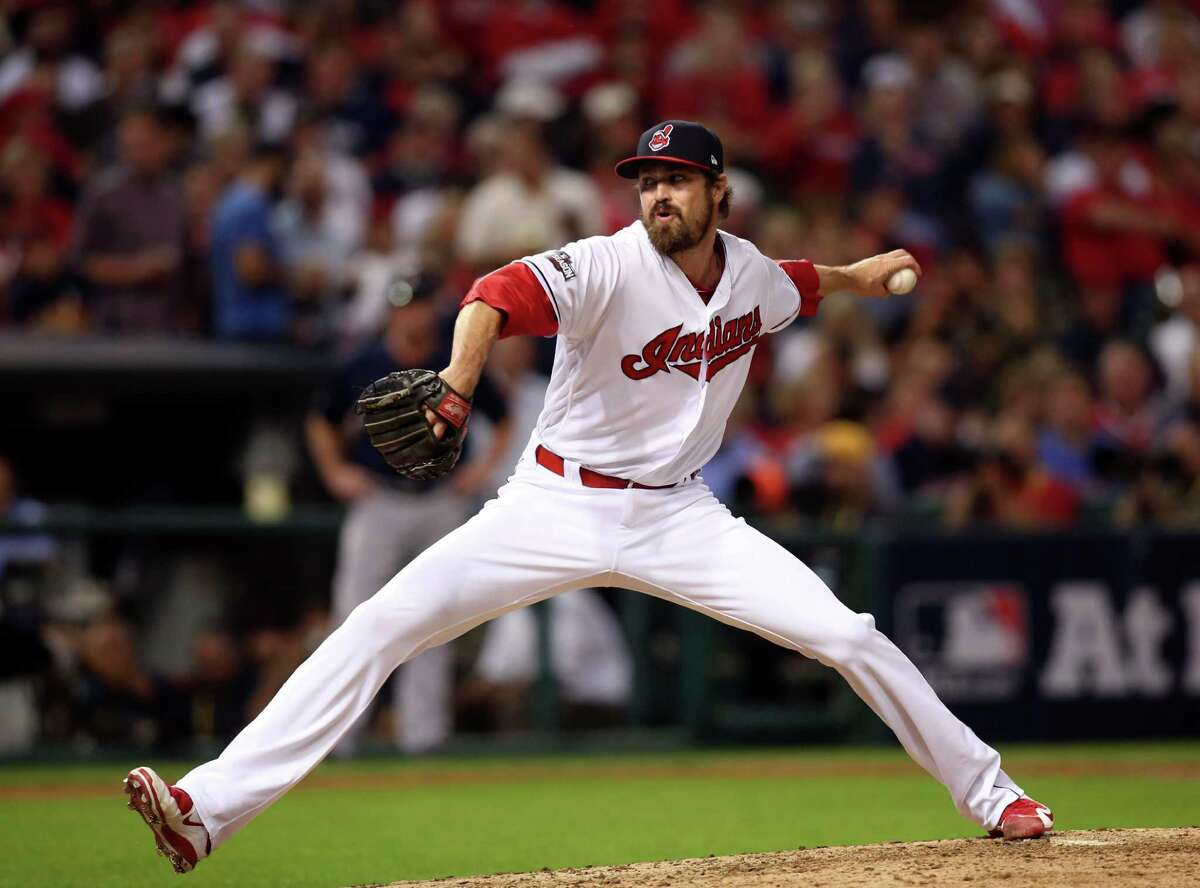 Cleveland Indians relief pitcher Andrew Miller throws against the Boston Red Sox in the fifth inning during Game 1 of baseball's American League Division Series, Thursday, Oct. 6, 2016, in Cleveland.