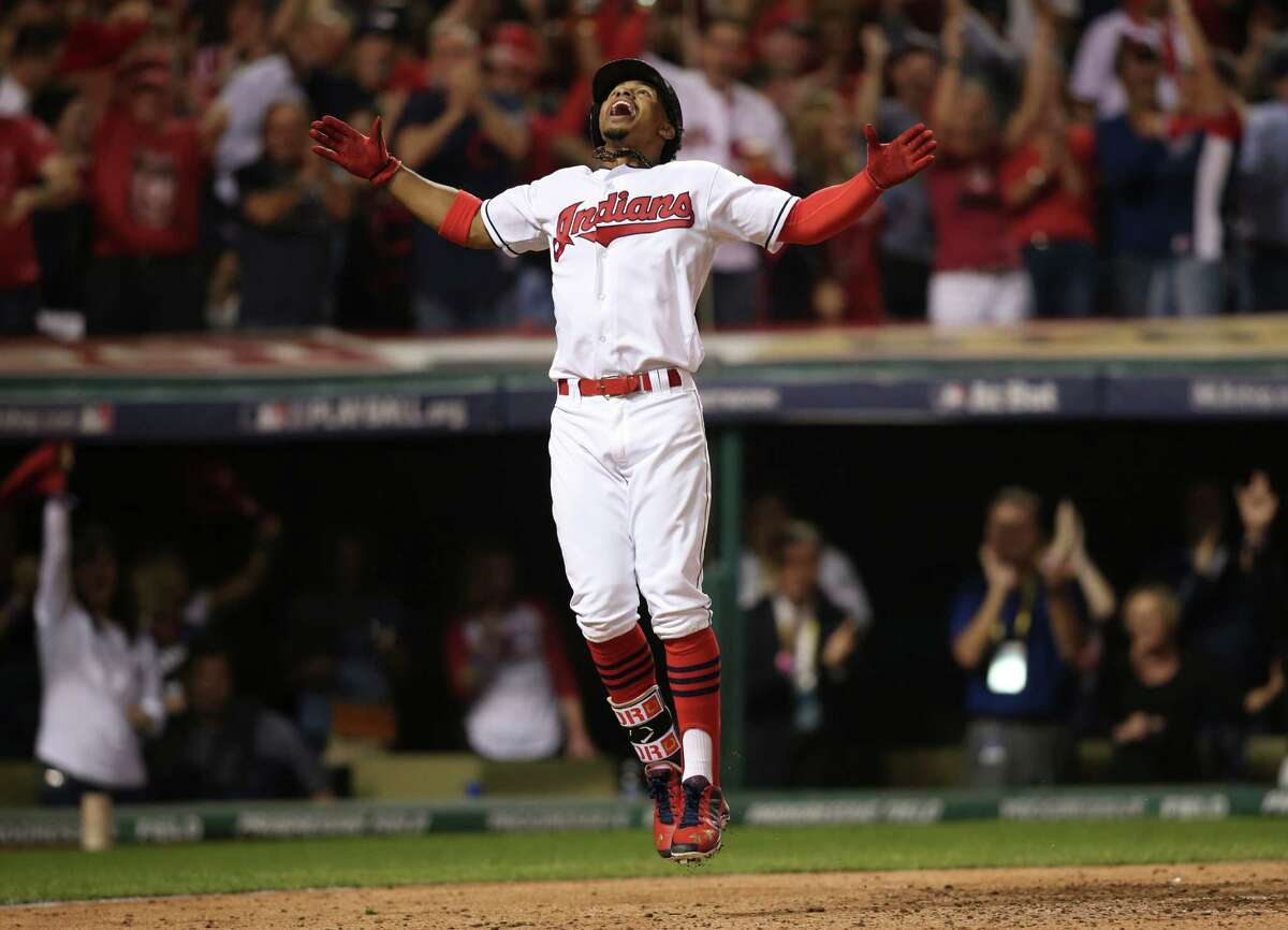 Cleveland Indians' Francisco Lindor celebrates his solo home run against the Boston Red Sox in the third inning during Game 1 of baseball's American League Division Series, Thursday, Oct. 6, 2016, in Cleveland.