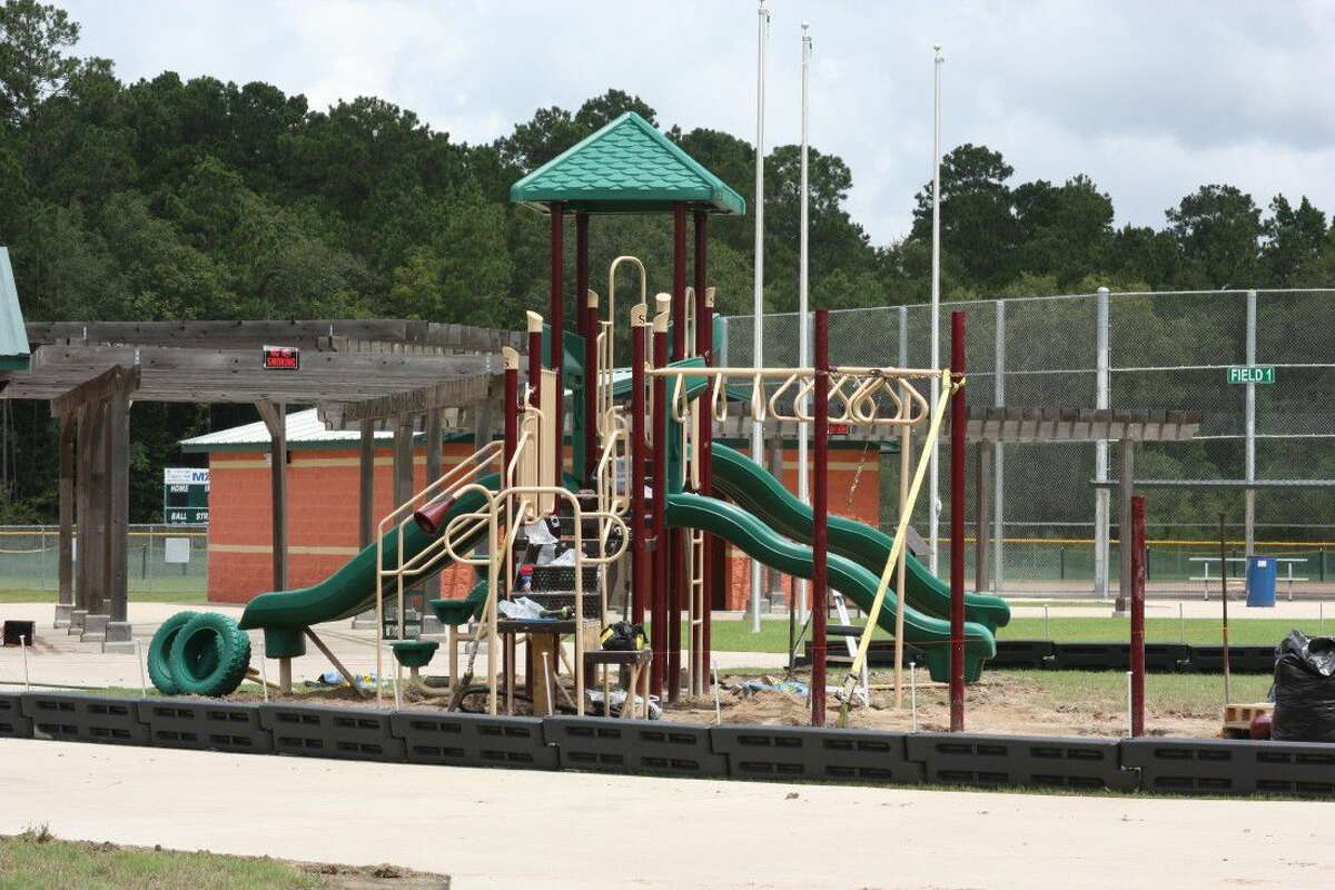 New playground equipment designed for children ages 12 and under is being installed by the concession stand and softball fields at Cleveland Municipal Park.