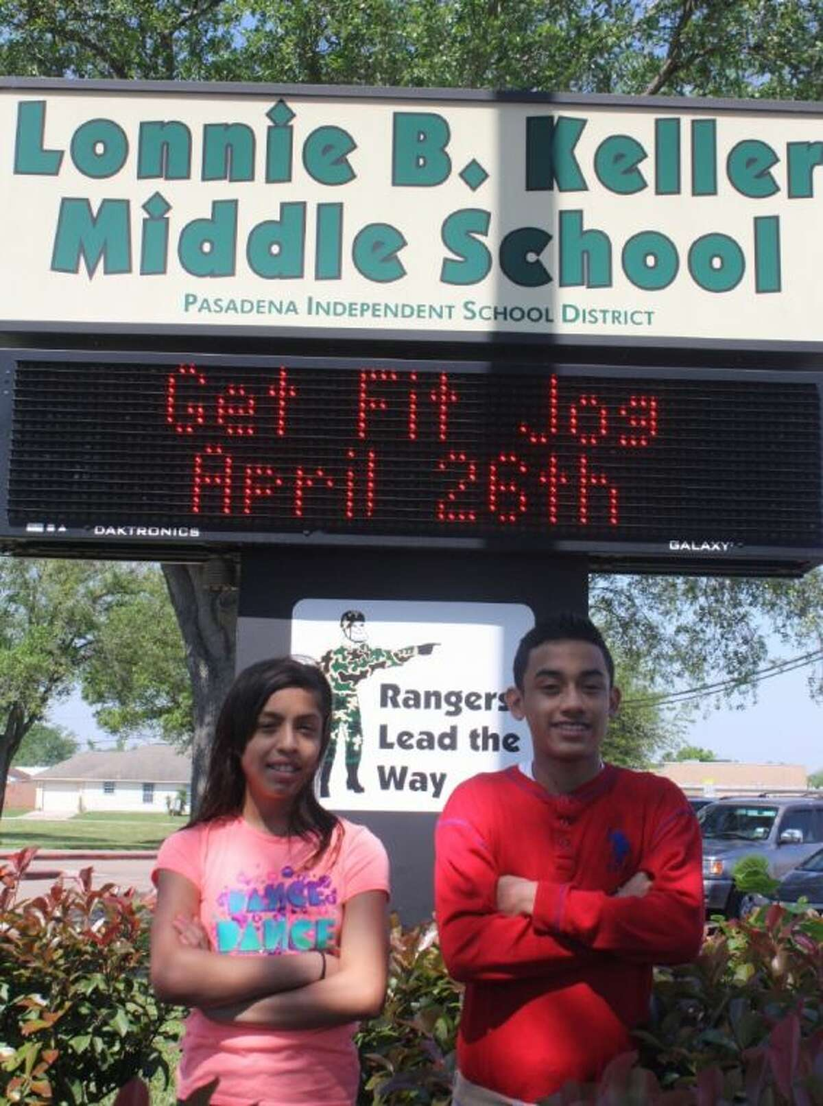 Fifth grader Audrey Serrato (L) and sixth grader Joel Espitia will be two of the Rangers looking to extend Keller's Get Fit Jog winning streak to six straight years of earning the Most Participants Trophy for the middle school division.